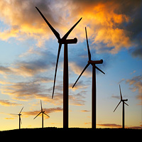 Economic Development Wind Turbine Sunset