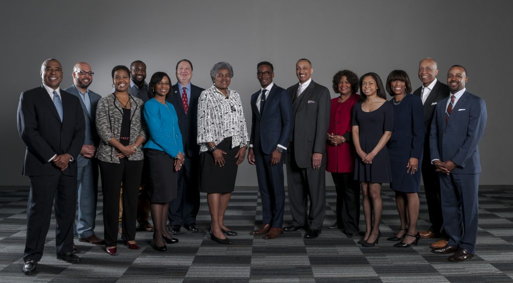Honorary Summit Co-Chairs and members of the African-American Philanthropy Committee with keynote speaker Donna Brazile and morning featured speaker Jeff Johnson at center.