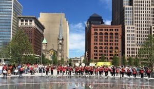 Shaw High School Marching Band in Cleveland Public Square