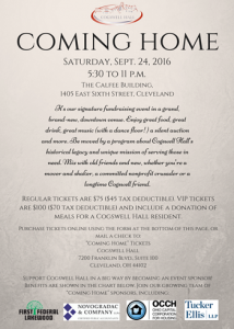 Cogswell Hall Coming Home gala invitation
