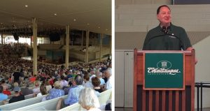 Cleveland Foundation CEO Ronn Richard address Chautauqua Institution amphitheater