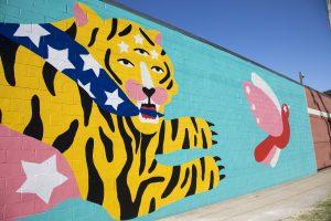 Michela Picchi's mural in progress on W. 28th Street and Detroit Avenue.