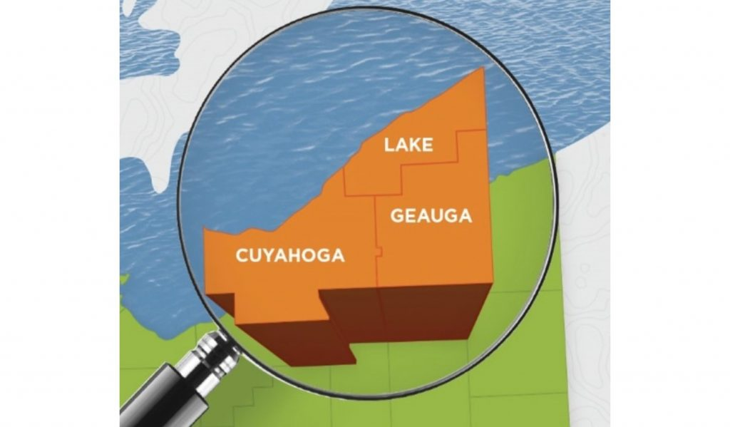Map of Ohio with magnifying glass highlighting Cuyahoga Lake and Geauga counties