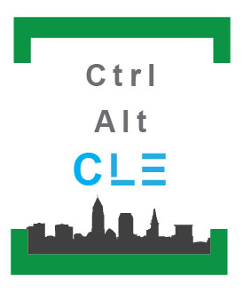 logo featuring Ctrl + Alt + CLE text over silhouette of Cleveland skyline