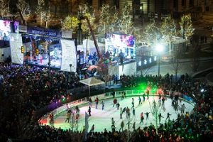 Ariel photo of skaters on Cleveland Foundation Skating Rink during WinterFest