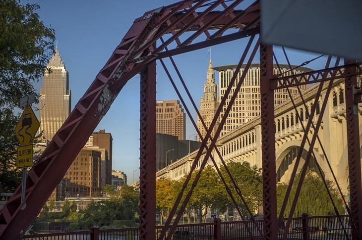 View of Cleveland skyline through bridge