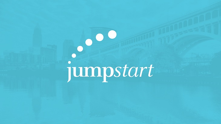 JumpStart logo against blue tinted Cleveland skyline