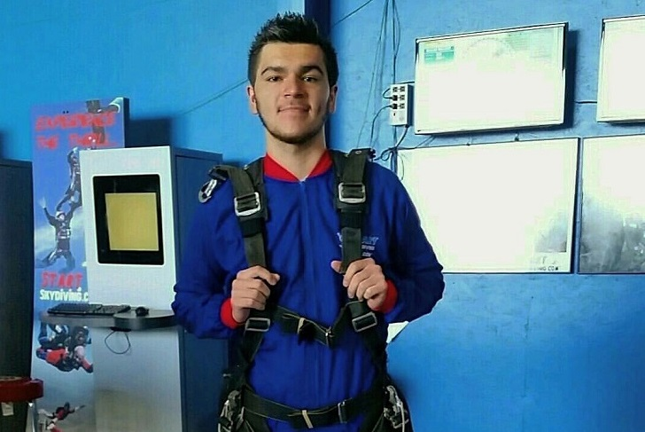 Martin Cantera poses in skydiving gear