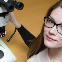 Sydney Brannoch pictured with microscope