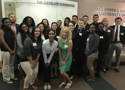 A group of 2017 Cleveland Foundation Summer interns poses for a group photo
