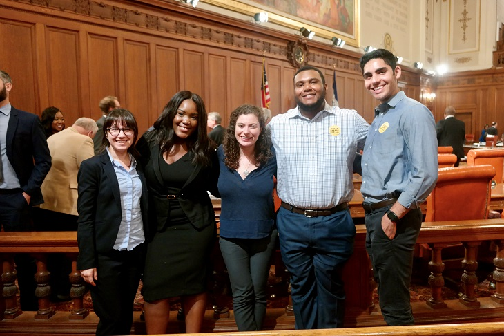five Cleveland Foundation Public Service Fellows pose for a picture at Cleveland City Council