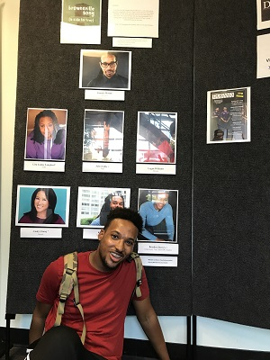 Brinden sits below the headshots of himself and other actors in play