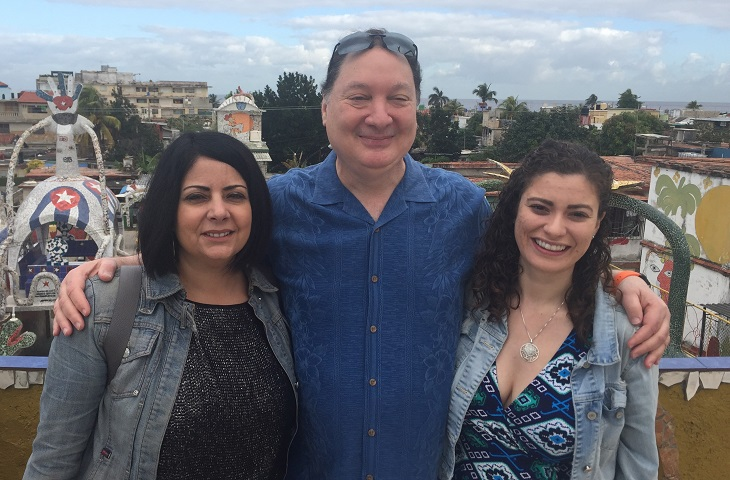 Photo of Hannah and two colleagues in Havana, Cuba