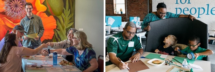Two photos of people seated at Common Ground tables