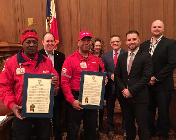 DCA Ambassadors pose with city officials with Mayor's proclamations
