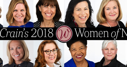 A collage of images of all 2018 Crains Women of Note honorees