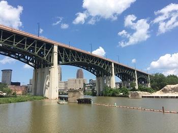 View of Cuyahoga River under bridge
