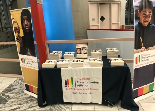 Cleveland Transformation Alliance information table is pictured.
