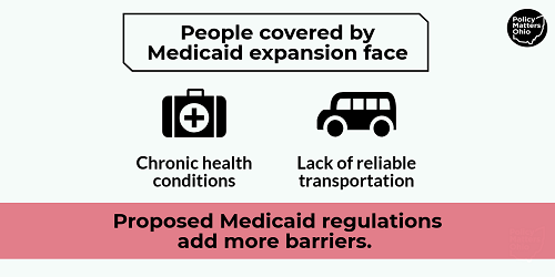 Medicaid expansion infographic showing barriers to access