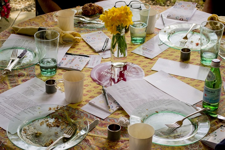 A table with dishes left over from a Common Ground meal
